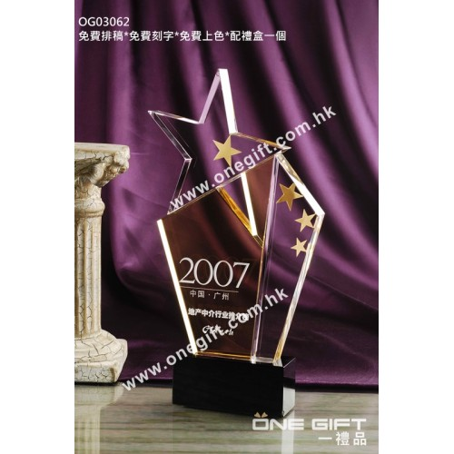 OG03062 星形水晶獎座