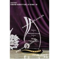 OG03067 水滴形高爾夫球水晶獎座