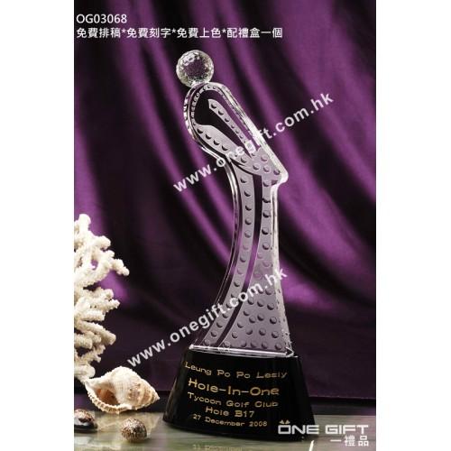 OG03068 人形高爾夫球水晶獎座
