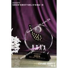OG03070 圓形高爾夫球水晶獎座