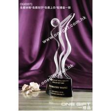 OG03071 人形高爾夫球水晶獎座