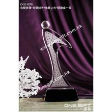 OG03076 人形高爾夫球水晶獎座