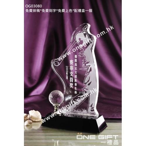 OG03080 人形高爾夫球水晶獎座