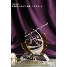 OG03085 乒乓球水晶獎座