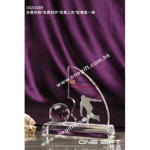 OG03089 保齡球水晶獎座