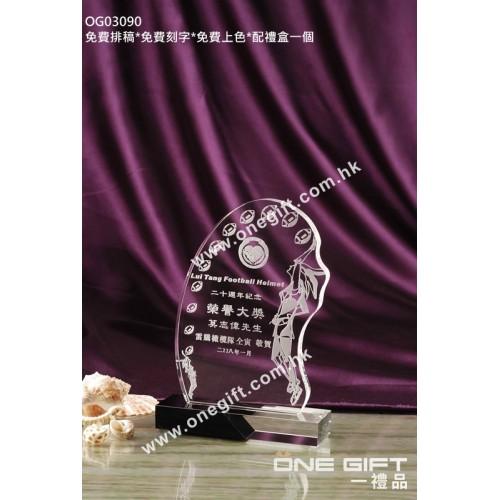 OG03090 欖球水晶獎座