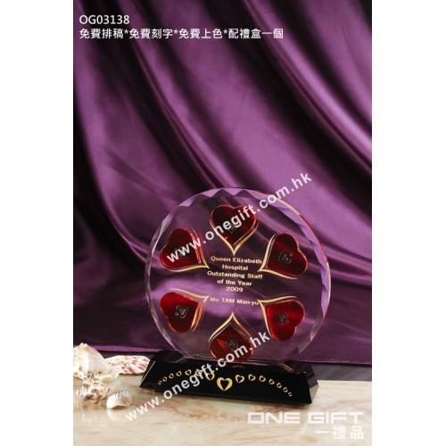 OG03138 鑽石切面心形水晶座