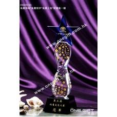 OG03153 透明琉璃柱星星水晶獎座