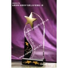 OG03176 金屬星星水晶獎座