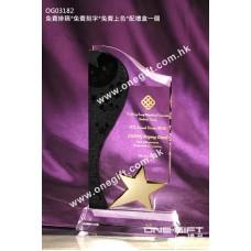 OG03182 流線形星星水晶獎座