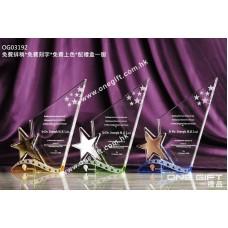 OG03192 三角形星星水晶獎座