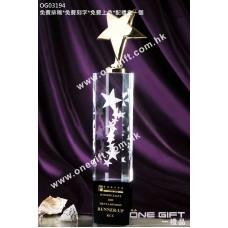 OG03194 六角柱星形水晶獎座