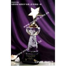 OG03196 極具份量金屬星星獎盃形水晶獎座