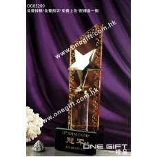 OG03200 極具份量金屬星星水晶獎座