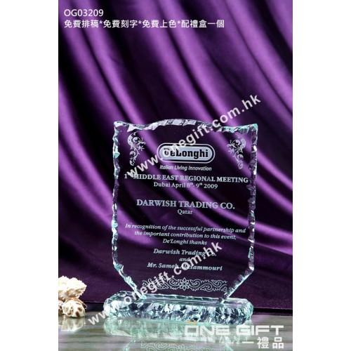 OG03209 外形獨特的水晶獎座