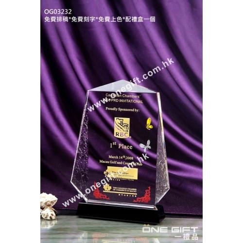 OG03232 外形獨特的水晶獎座