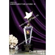 OG03333 八角柱形金屬星星水晶獎座