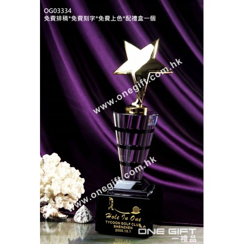 OG03334 圓柱形金屬星星水晶獎座