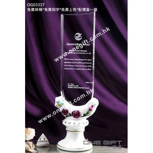 OG03337 高身玫瑰花紋白色陶瓷水晶座