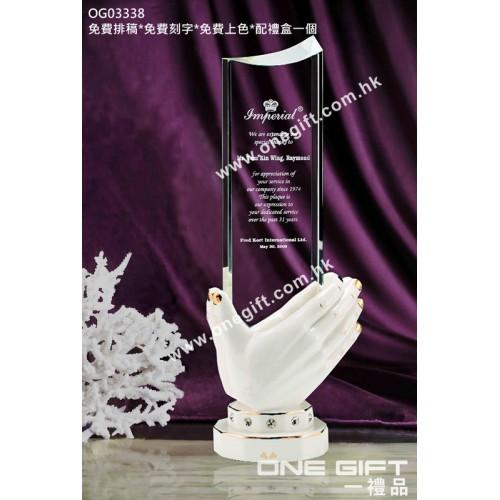 OG03338 高身合手敬送白色陶瓷水晶座