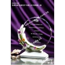 OG03340 玫瑰花紋白色陶瓷鑽石切面圓形水晶座