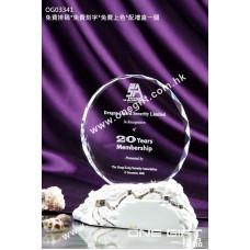 OG03341 白色陶瓷配鑽石切面圓形水晶