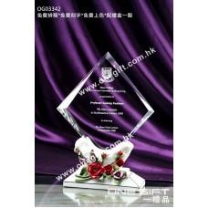 OG03342 玫瑰花紋白色陶瓷水晶座