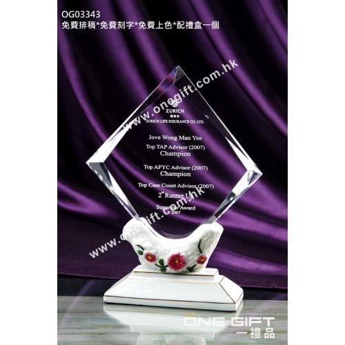 OG03343  玫瑰花紋白色陶瓷水晶座