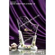 OG03345 白色玫瑰花紋陶瓷水晶座