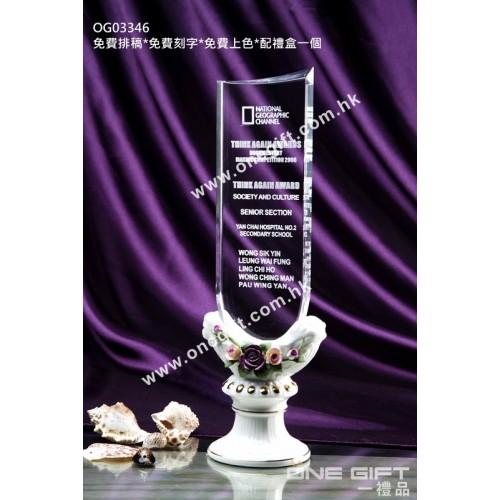 OG03346 高身玫瑰白色陶瓷水晶座