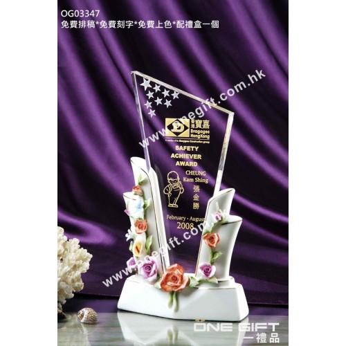 OG03347 白色陶瓷水晶座
