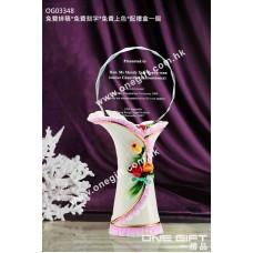 OG03348 白色陶瓷花瓶形配鑽石切面水晶座