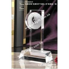 OG06019 磨砂籃球透明水晶獎座