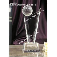 OG06025 全透明高爾夫球水晶獎盃