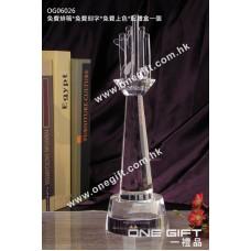 OG06026 全透明高爾夫球水晶獎座