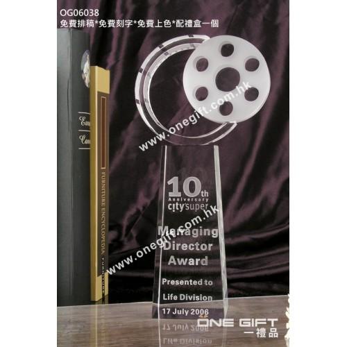 OG06038 全透明電影水晶獎座
