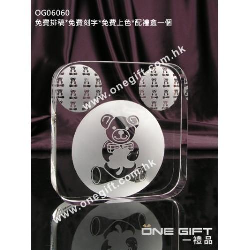 OG06060 全透明正方形熊仔紀念水晶