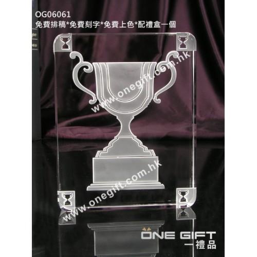 OG06061 全透明方形獎盃水晶