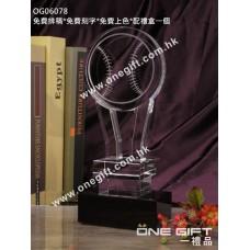OG06078 棒球水晶獎座
