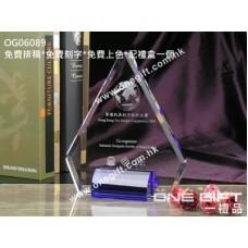 OG06089 三角形紀念水晶配藍水晶底座