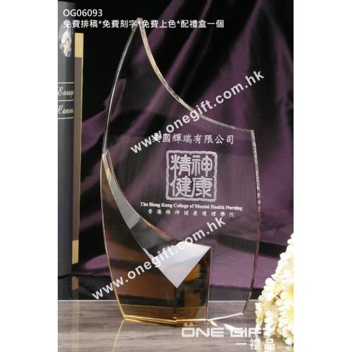 OG06093 琥珀色水晶配件紀念水晶座