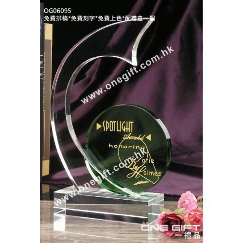 OG06095 綠色水晶配件紀念水晶座