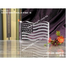 OG06121 全透明美國國旗水晶