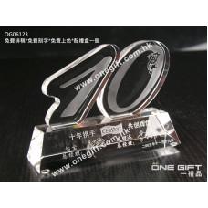 OG06123 全透明服務獎水晶獎座
