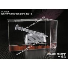 OG06163 全透明內雕砲台水晶