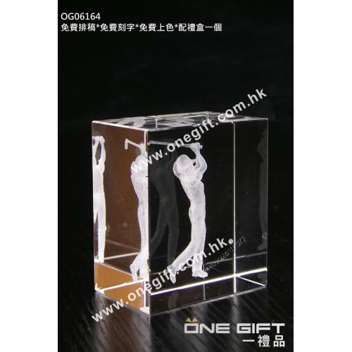 OG06164 全透明內雕高爾夫球水晶