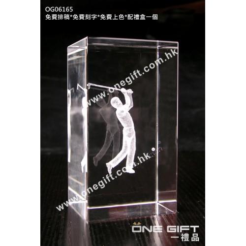 OG06165 全透明內雕高爾夫球水晶