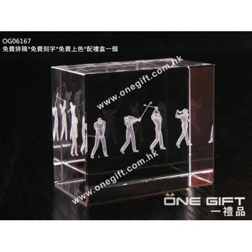 OG06167 全透明內雕高爾夫球水晶