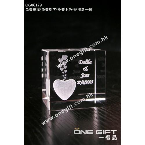OG06179 全透明內雕水晶方塊