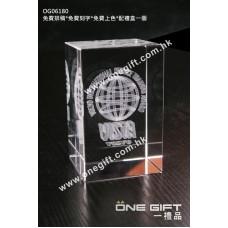 OG06180 全透明內雕水晶方塊